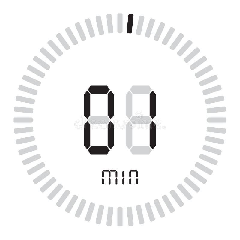 数字式定时器1分钟 有发动传染媒介象、时钟和手表,定时器,读秒的梯度拨号盘的电子秒表 向量例证