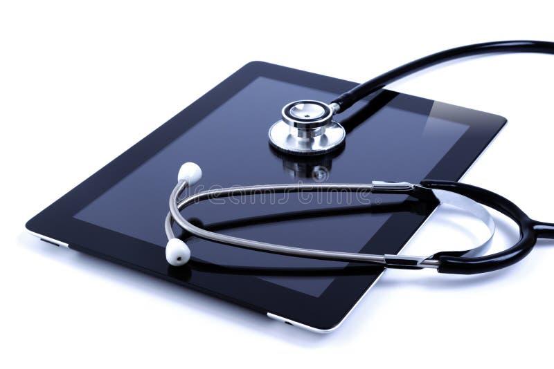 数字式屏幕听诊器片剂接触 免版税库存照片