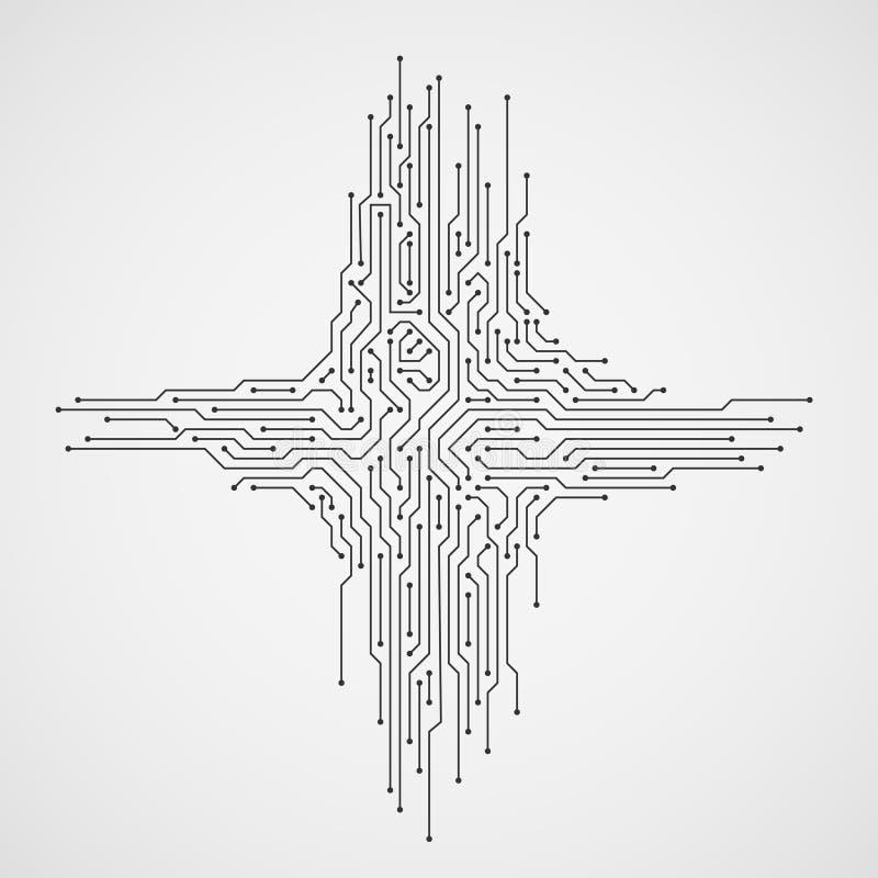 数字式工程学传染媒介概念 计算机科技与电路板的摘要背景 向量例证