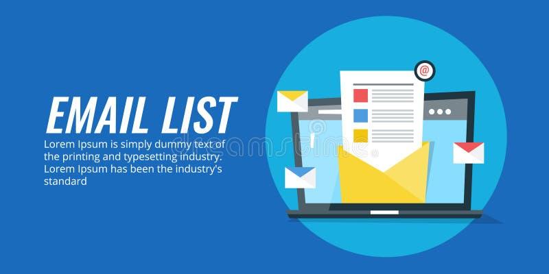 数字式市场活动的电子邮件名单 时事通讯行销的邮件表 库存例证