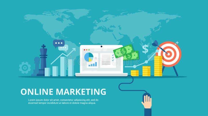 数字式市场过程-在平的样式的横幅 战略、成功的结果和利润增长的概念 网上事务 库存例证