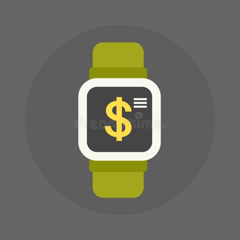数字式手表象有美元的符号的在屏幕流动不接触的付款概念 库存例证