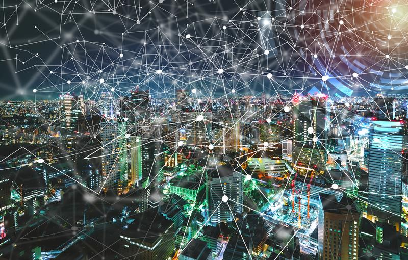 数字式技术圈子有东京,日本鸟瞰图  免版税库存照片