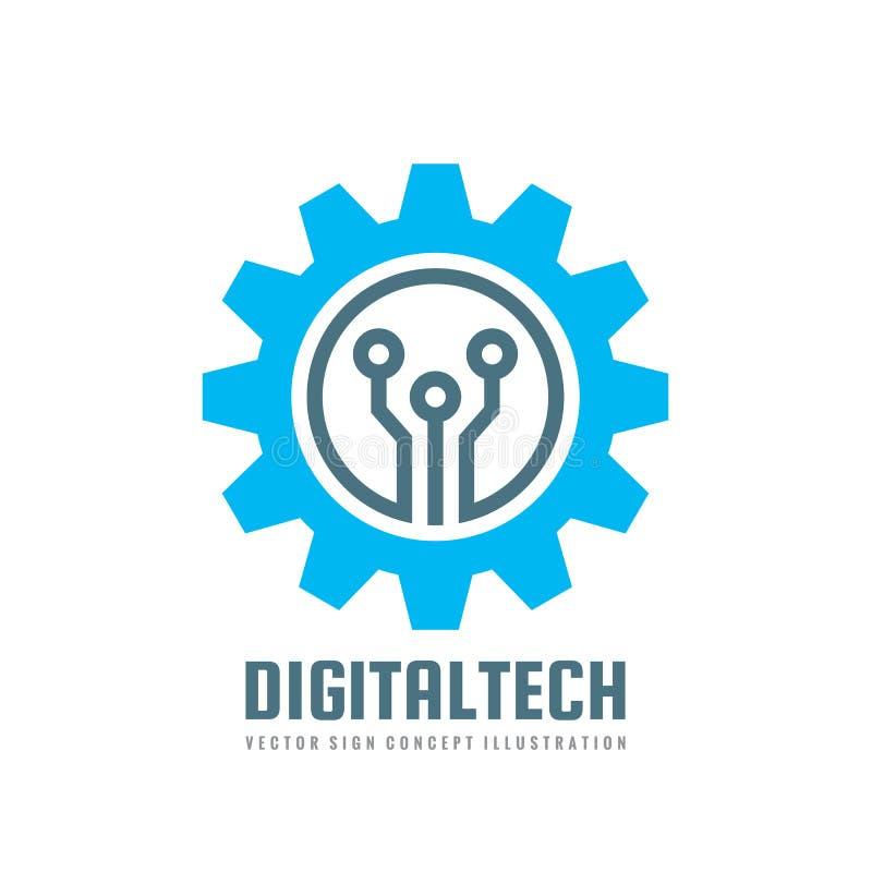 数字式技术-导航企业商标模板概念例证 齿轮电子工厂标志 嵌齿轮轮子技术标志 皇族释放例证