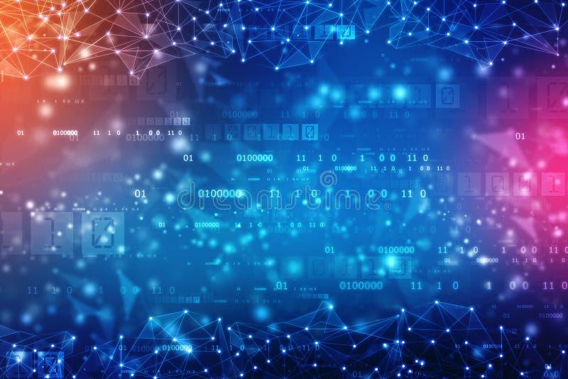 数字式抽象技术背景,网络空间背景,未来派背景 免版税库存照片