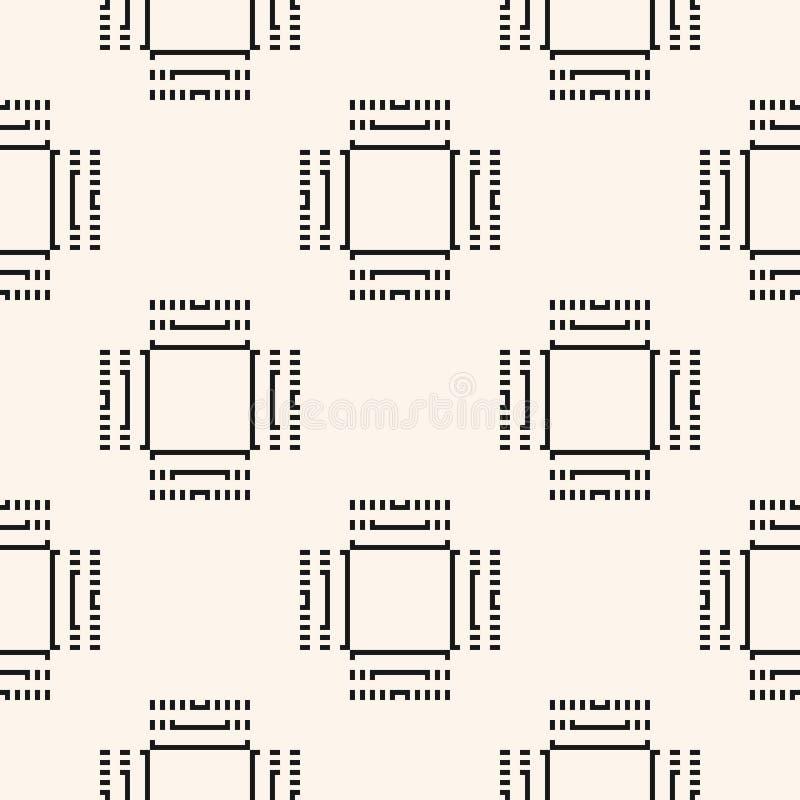 数字式无缝的样式 传染媒介与概要计算机芯片的重复背景 库存例证
