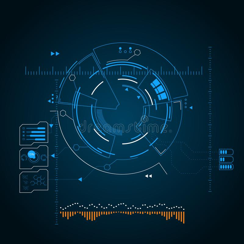 数字式未来派用户界面、HUD app的和网 抽象向量例证 库存例证