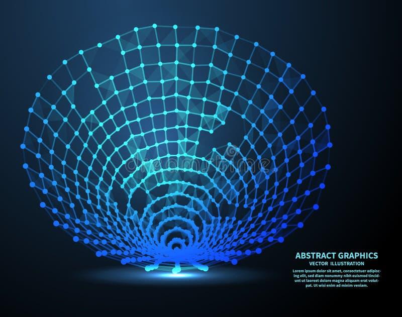 数字式漏斗,传染媒介例证 与点和线的网络连接 抽象背景技术 向量例证