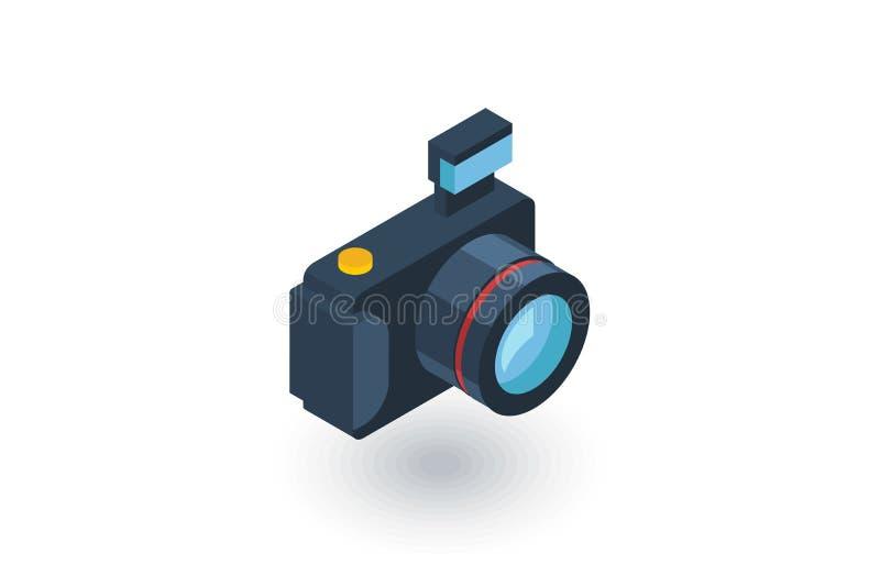 数字式照片照相机等量平的象 3d向量 库存例证