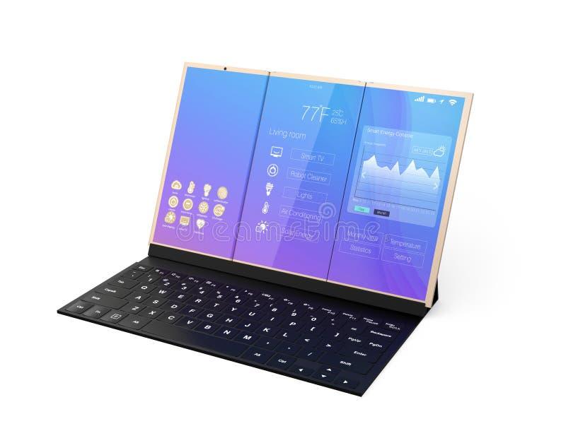 数字式片剂在一个黑流动键盘的个人计算机相接 库存例证