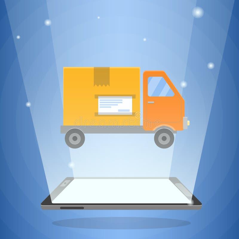 数字式片剂计算机和送货卡车有纸板箱的对此 库存例证
