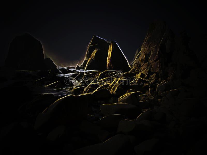 数字式空的多岩石的海滩 皇族释放例证