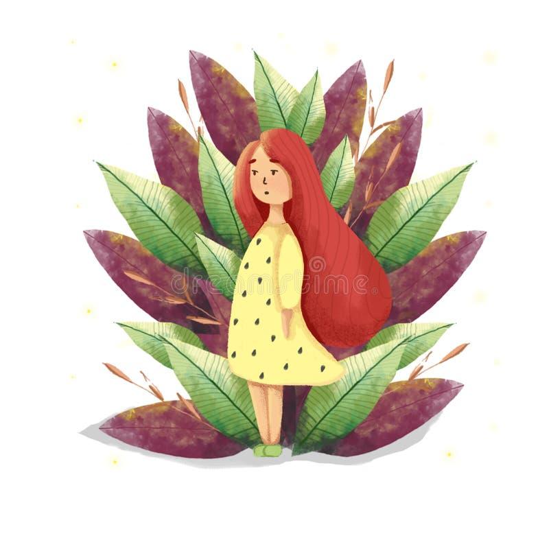 数字式红色头发女孩例证 女孩的书和儿童例证在不可思议的森林里 向量例证
