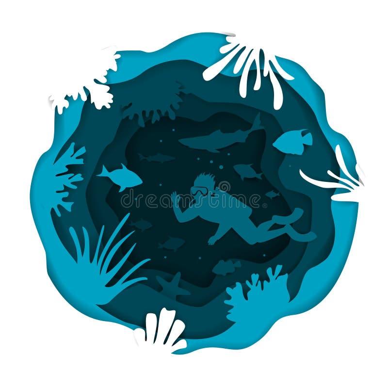 数字式纸削减了与轻潜水员鱼和珊瑚礁的样式水下的深海圆的圈子波浪层状作用背景 皇族释放例证