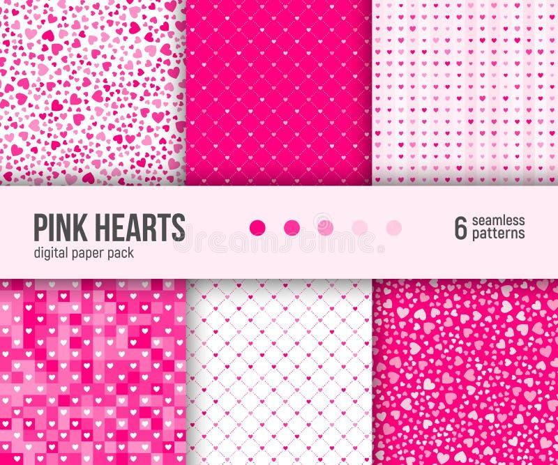 数字式纸组装, 6个抽象心脏样式,情人节背景 库存例证