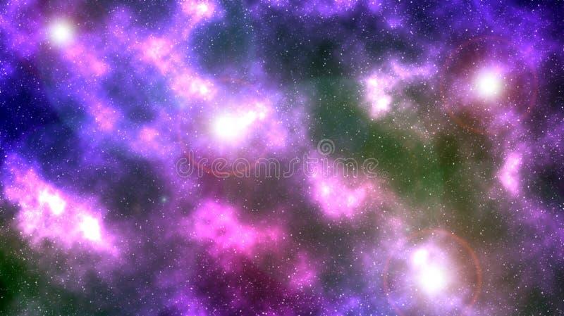 数字式绘画五颜六色的抽象星系背景 库存例证