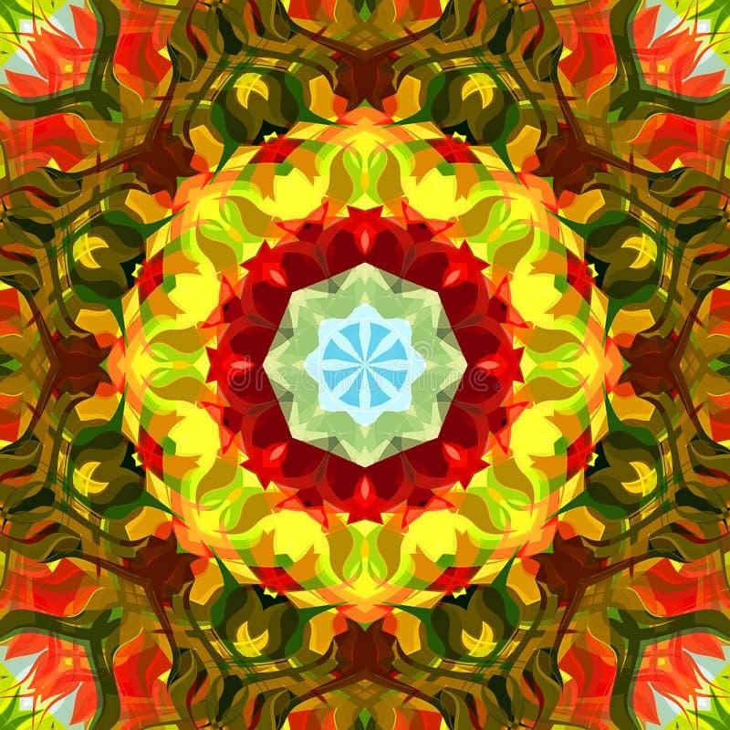 数字式绘画摘要五颜六色的花卉坛场背景 库存照片