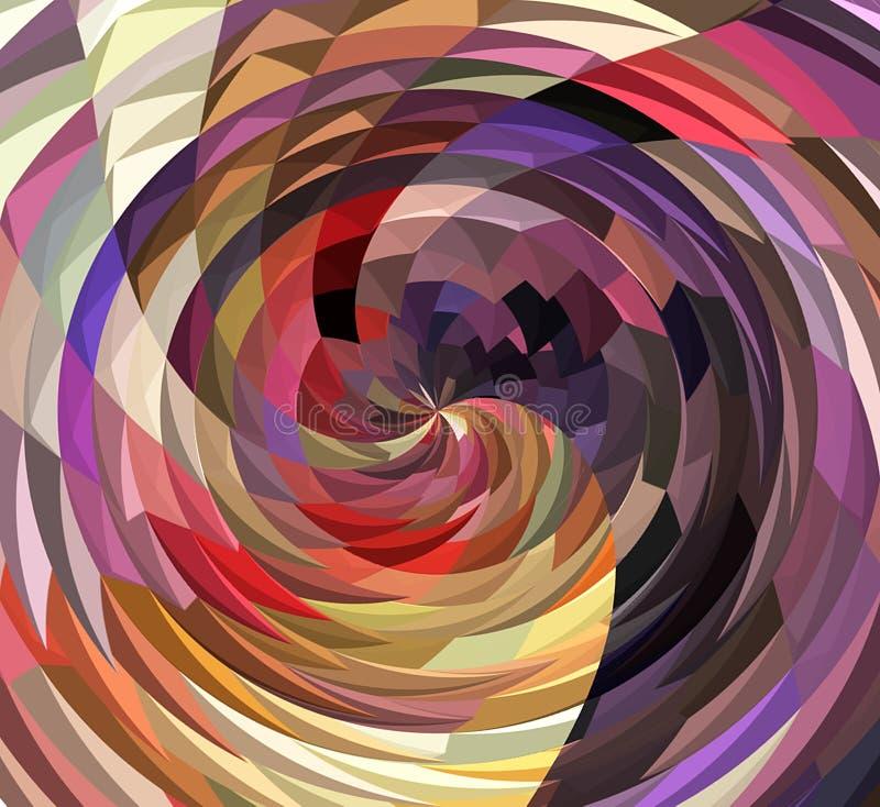 数字式绘画摘要波浪转动在五颜六色的土气淡色背景中 库存例证
