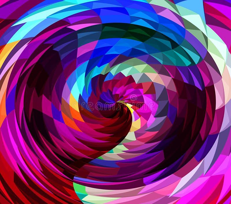 数字式绘画摘要混乱波浪转动在五颜六色的明亮的淡色背景中 库存例证