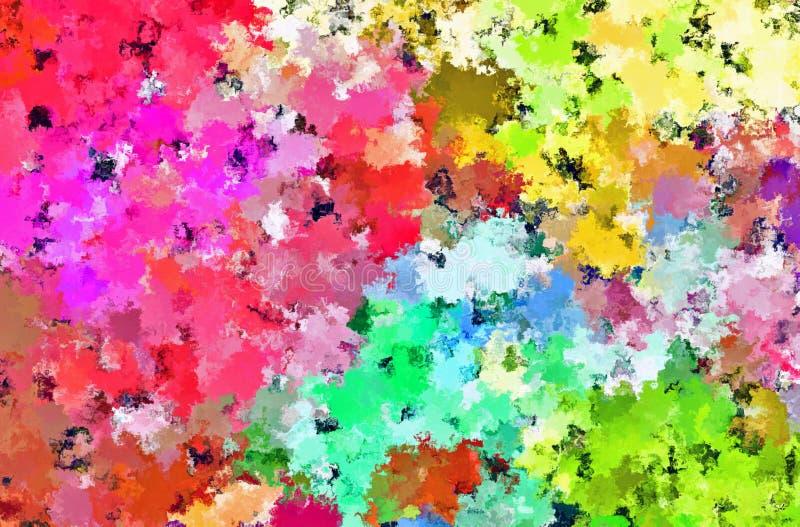 数字式绘画美好的抽象五颜六色的花田背景 向量例证