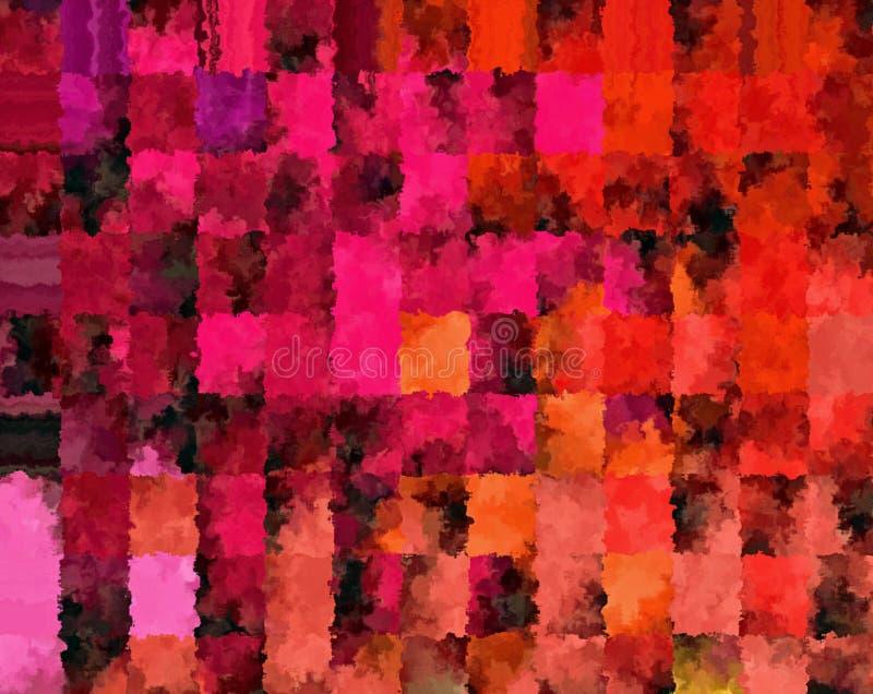 数字式绘画美好的抽象多色方格花布样式背景 向量例证