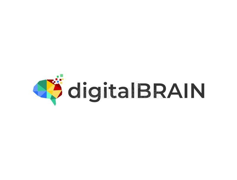 数字式脑子商标模板 向量例证