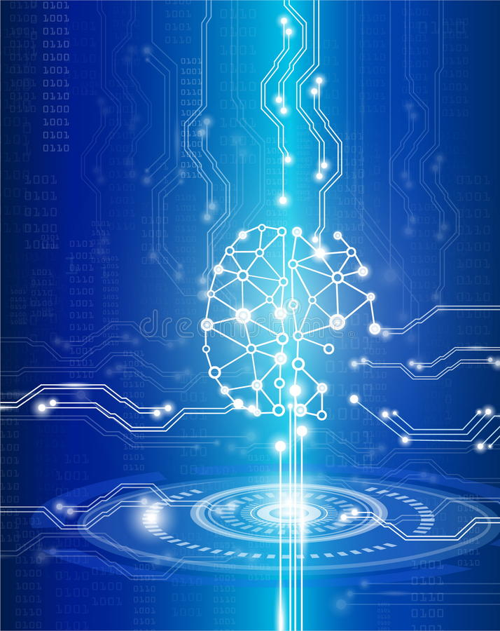 数字式脑子天才 库存例证