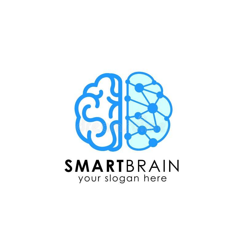 数字式脑子 脑子插孔商标设计 脑子连接商标传染媒介象 库存例证