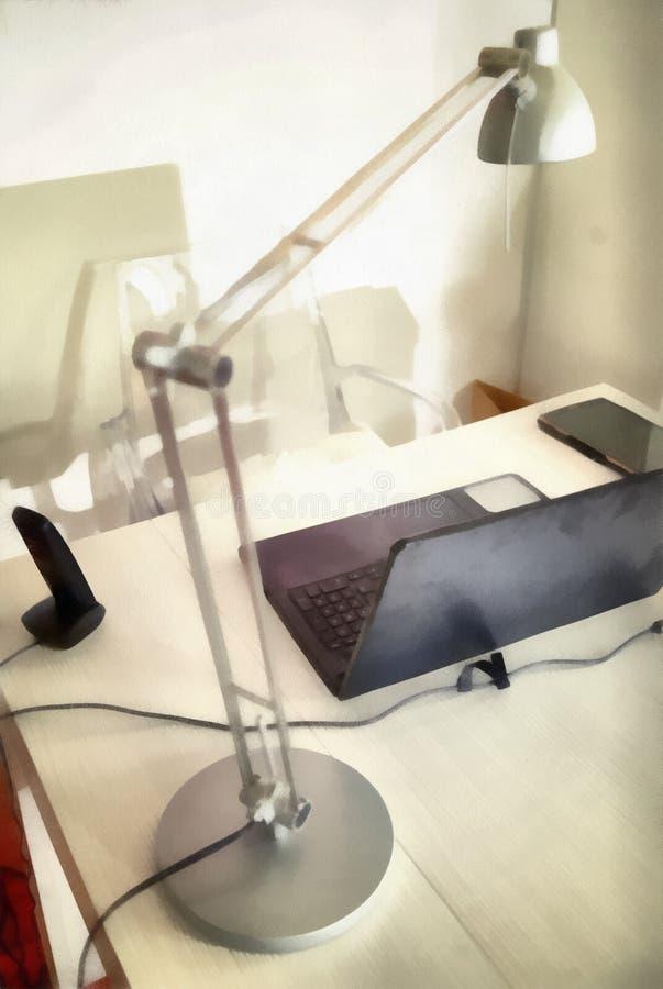 数字式艺术绘画-在书桌上的现代辅助部件有计算机的 皇族释放例证