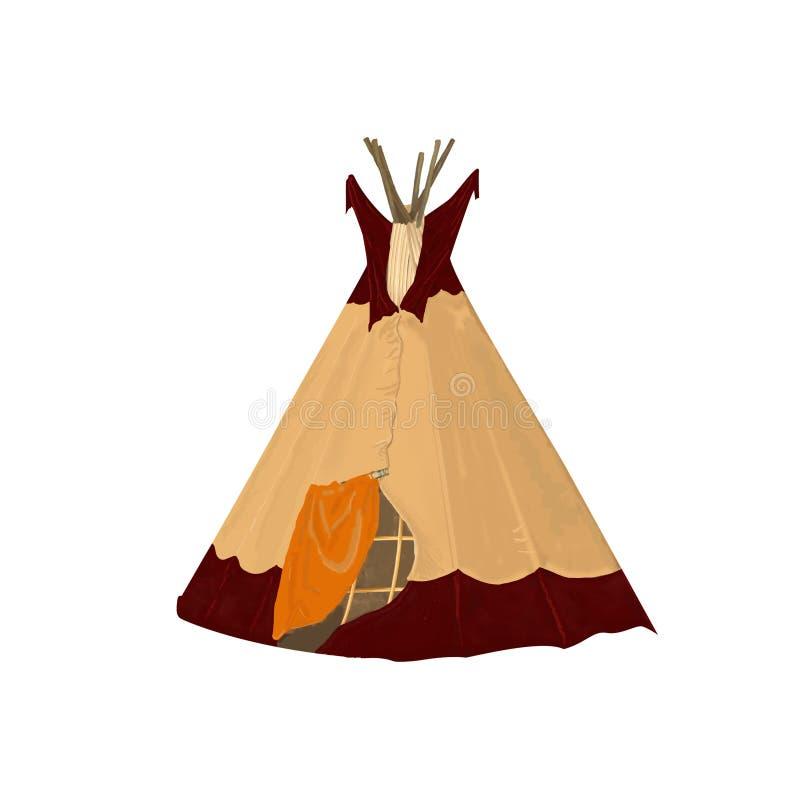 数字式艺术部族圆锥形帐蓬,被隔绝的露营地帐篷 Boho葡萄酒美国传统当地装饰品圆锥形小屋 印第安语 向量例证