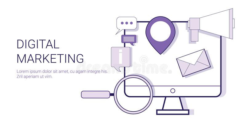 数字式营销公司业务战略概念与拷贝空间的网横幅 库存例证