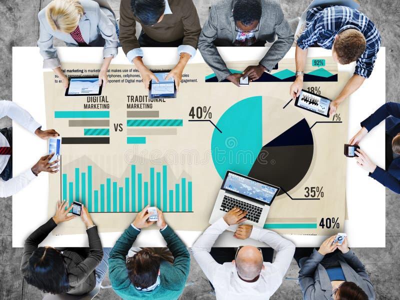 数字式营销图表统计分析金融市场Conce 免版税库存照片