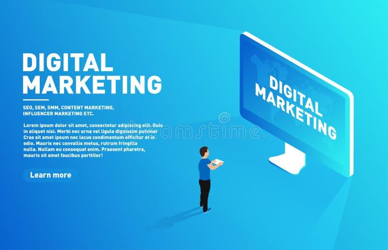 数字式营销概念 向外去营销 与站立在大显示前面的片剂的等量字符 向量例证