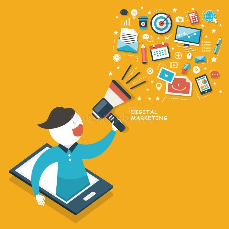 数字式营销概念 向量例证
