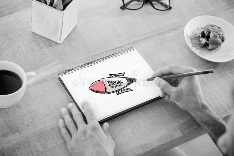 数字式营销火箭的综合图象 免版税图库摄影