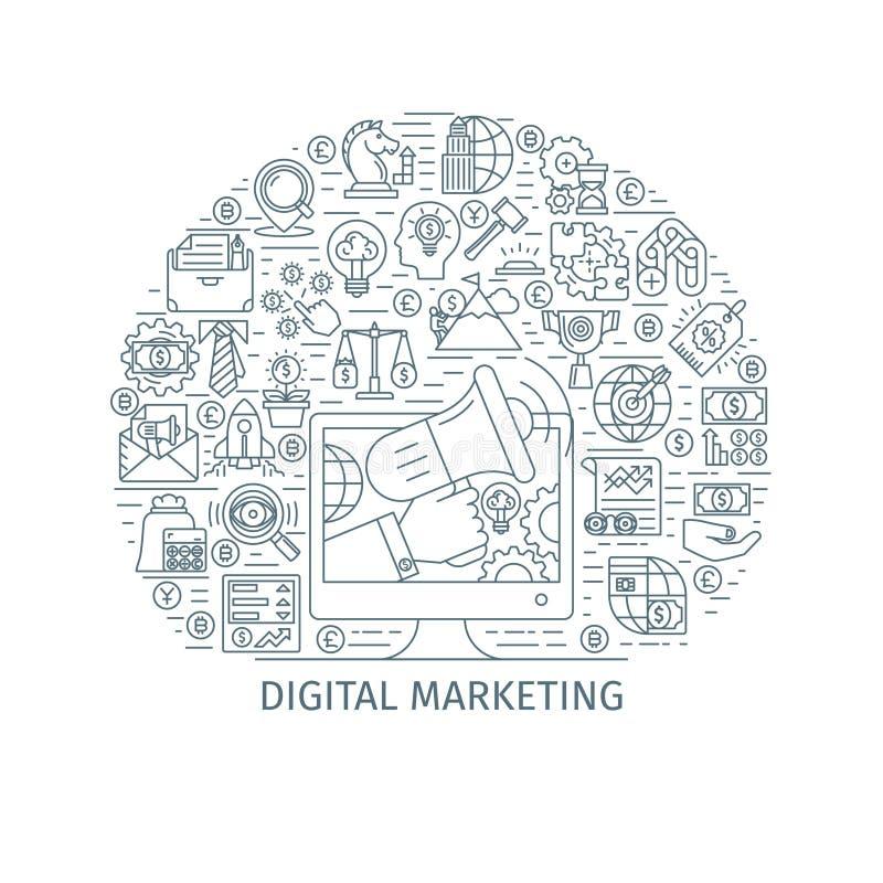 数字式营销稀薄的线概念 向量例证