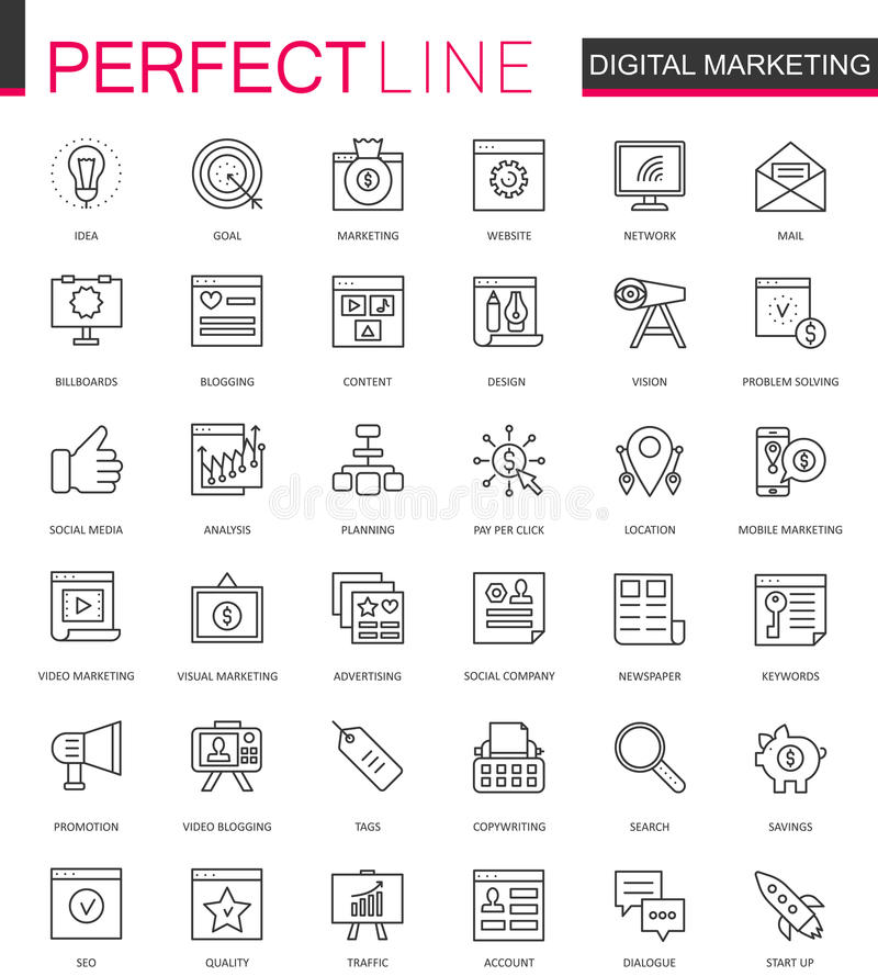 数字式营销稀薄的线被设置的网象 网上企业概述冲程象设计 库存例证