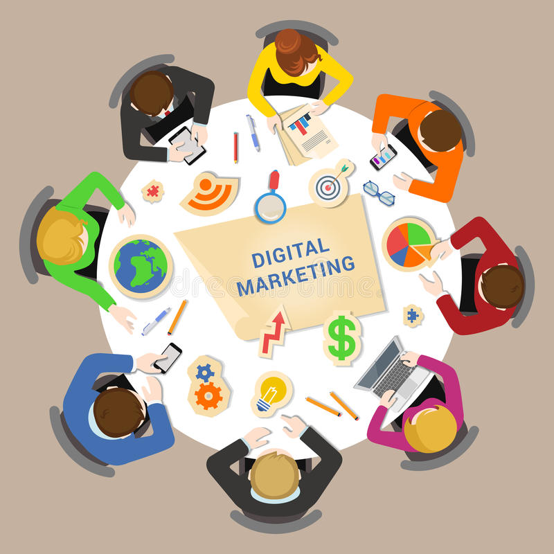 数字式营销突发的灵感平的传染媒介:在桌附近的职员 库存例证