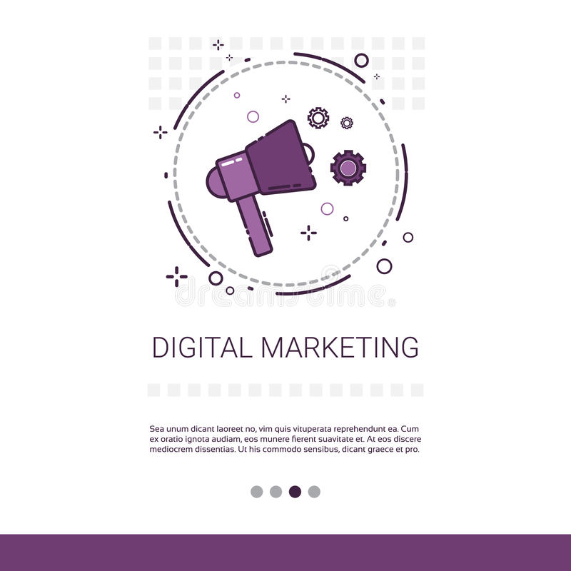 数字式营销视觉企业与拷贝空间的想法横幅 皇族释放例证