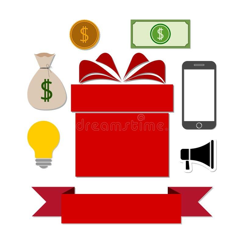 数字式营销,礼物盒象 皇族释放例证
