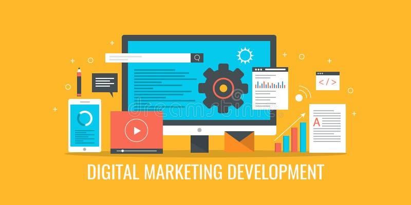数字式营销,销售方针发展, seo, sem,录影,电子邮件通信概念 平的设计传染媒介横幅 向量例证