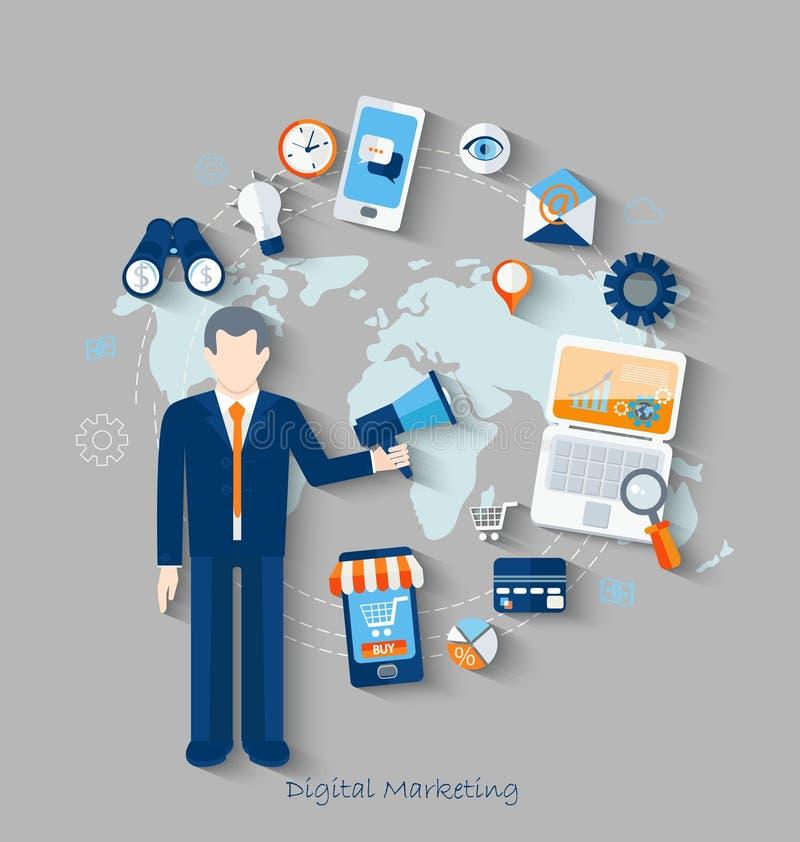 数字式行销的概念 库存例证