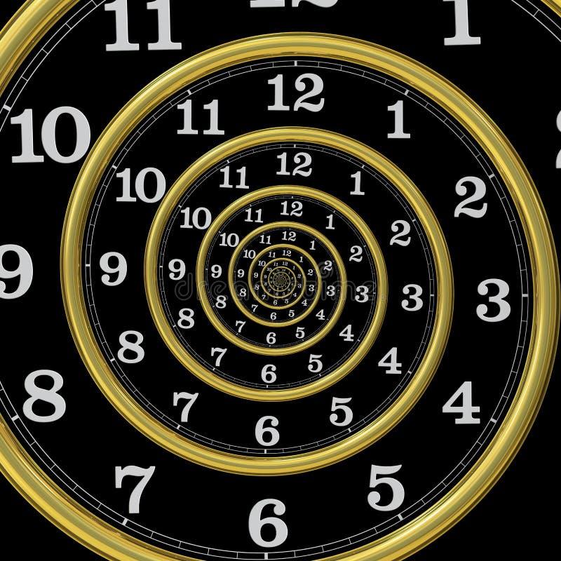数字式被生成的无限螺旋时间 向量例证