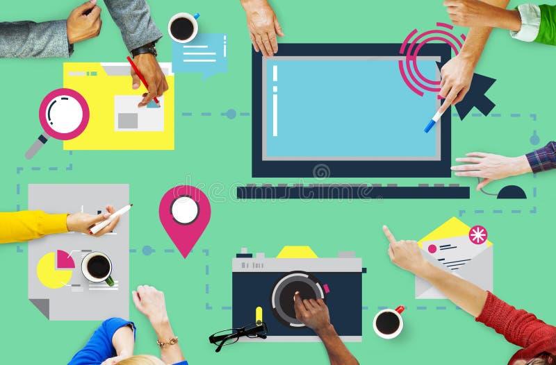 数字式设备计算机连接的互联网网上概念 库存图片