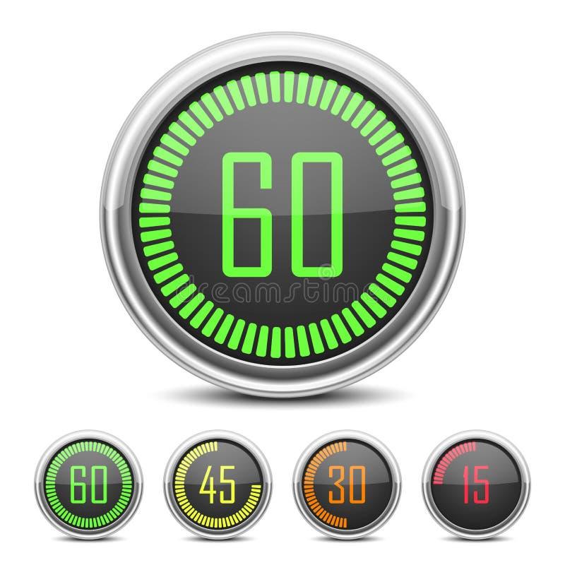 数字式读秒定时器 向量例证