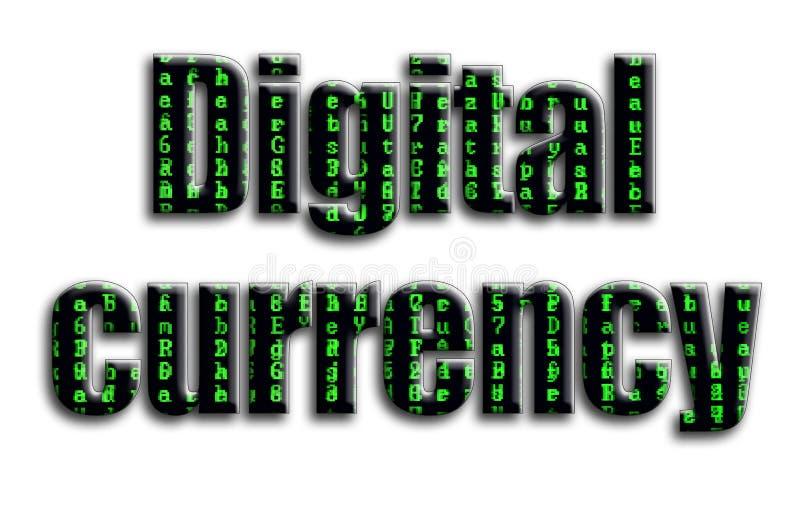 数字式货币 题字有摄影的纹理,描述绿色小故障标志 免版税图库摄影