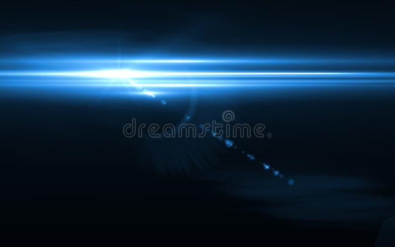 数字式透镜火光在水平黑的背景中 库存例证