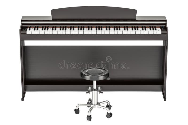 数字式钢琴, 3D翻译 库存例证