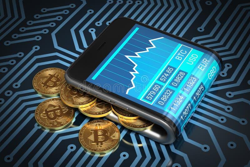 数字式钱包和金子在电路板的Bitcoins的概念 向量例证