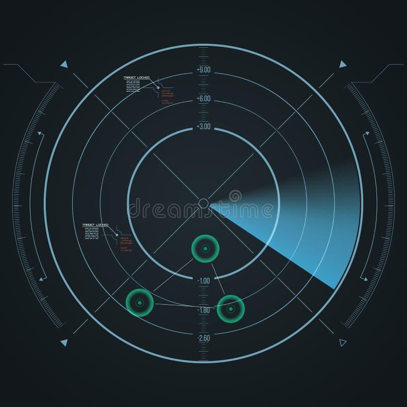 数字式雷达显示器 与datailed盘区的未来派HUD 库存例证